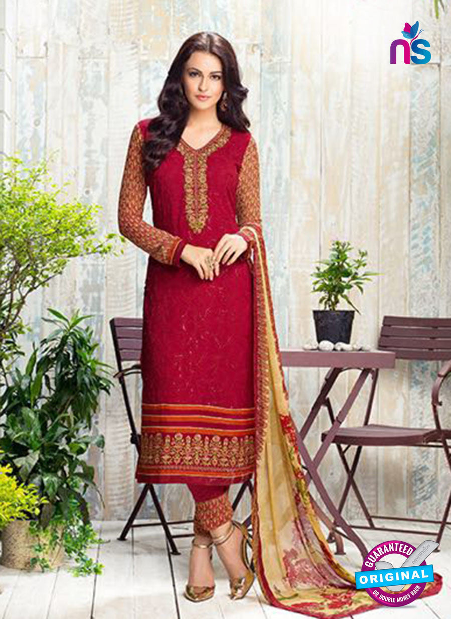 Karma 408 Maroon Georgette Party Wear Suit