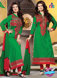 NS10793 Green and Red Embroidered Cotton Long Designer Straight Suit