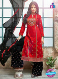 SC 14228 Red Cotton Satin Party Wear Suit