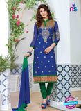 NS10229 Blue and Green Pure Cotton Daily Wear Long Straight Suit