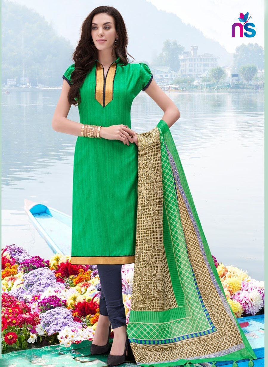 NS11252 Green and DarkBlue Party Wear Bhagalpuri Straight Suit