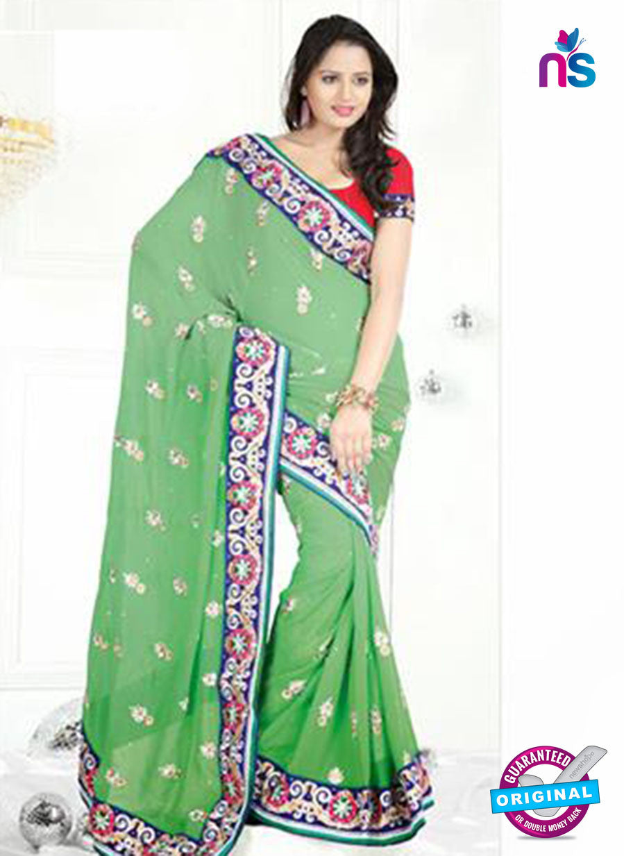 NS12231 Light Green and Blue Designer Saree