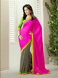 Vinay Fashion Star Walk 15369  Pink and Black Georgette Party Wear Saree