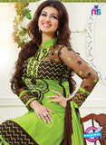 NS10788 Black and Yellow Green Cotton Designer Straight Suit Online