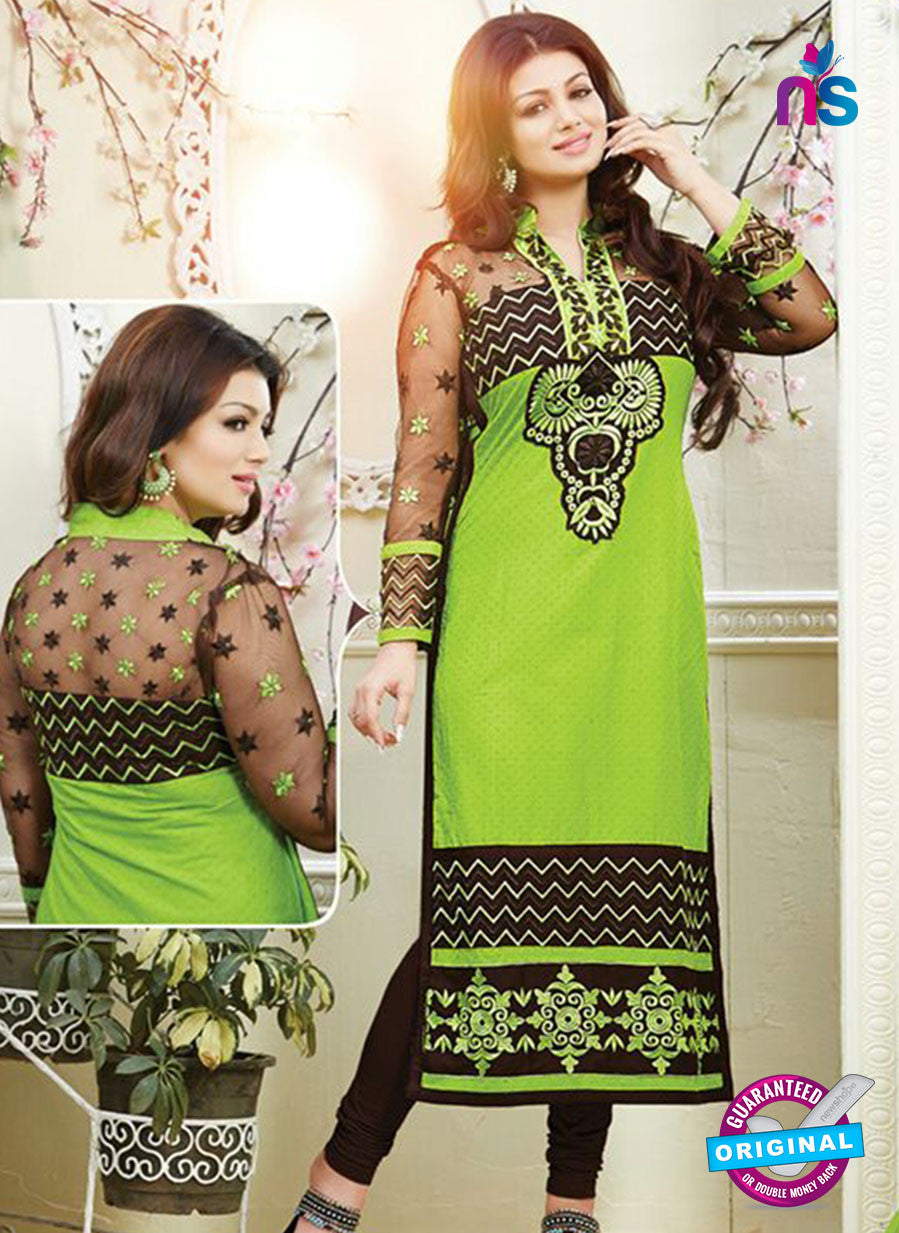 NS10788 Black and Yellow Green Cotton Designer Straight Suit