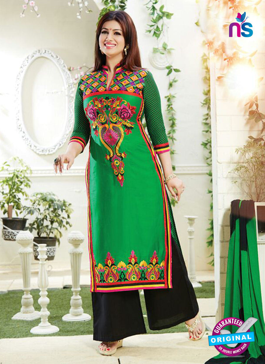 NS10789 Black and Green Cotton Designer Straight Suit