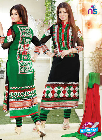 NS10790 Black and Green Cotton Designer Straight Suit