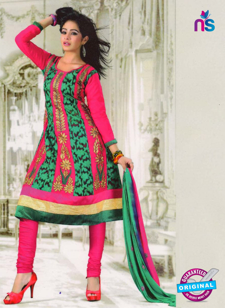NS10247 Pink and Green Anarkali Suit