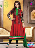 NS10794  Red and Black Embroidered Cotton Long Designer Straight Suit