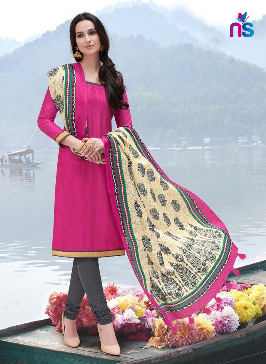 NS11253 Magenta and Charcoal Party Wear Bhagalpuri Straight Suit