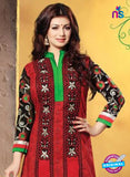 NS10794  Red and Black Embroidered Cotton Long Designer Straight Suit Online