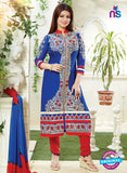 NS10791 Blue and Red Cotton Designer Straight Suit