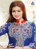 NS10791 Blue and Red Cotton Designer Straight Suit Online