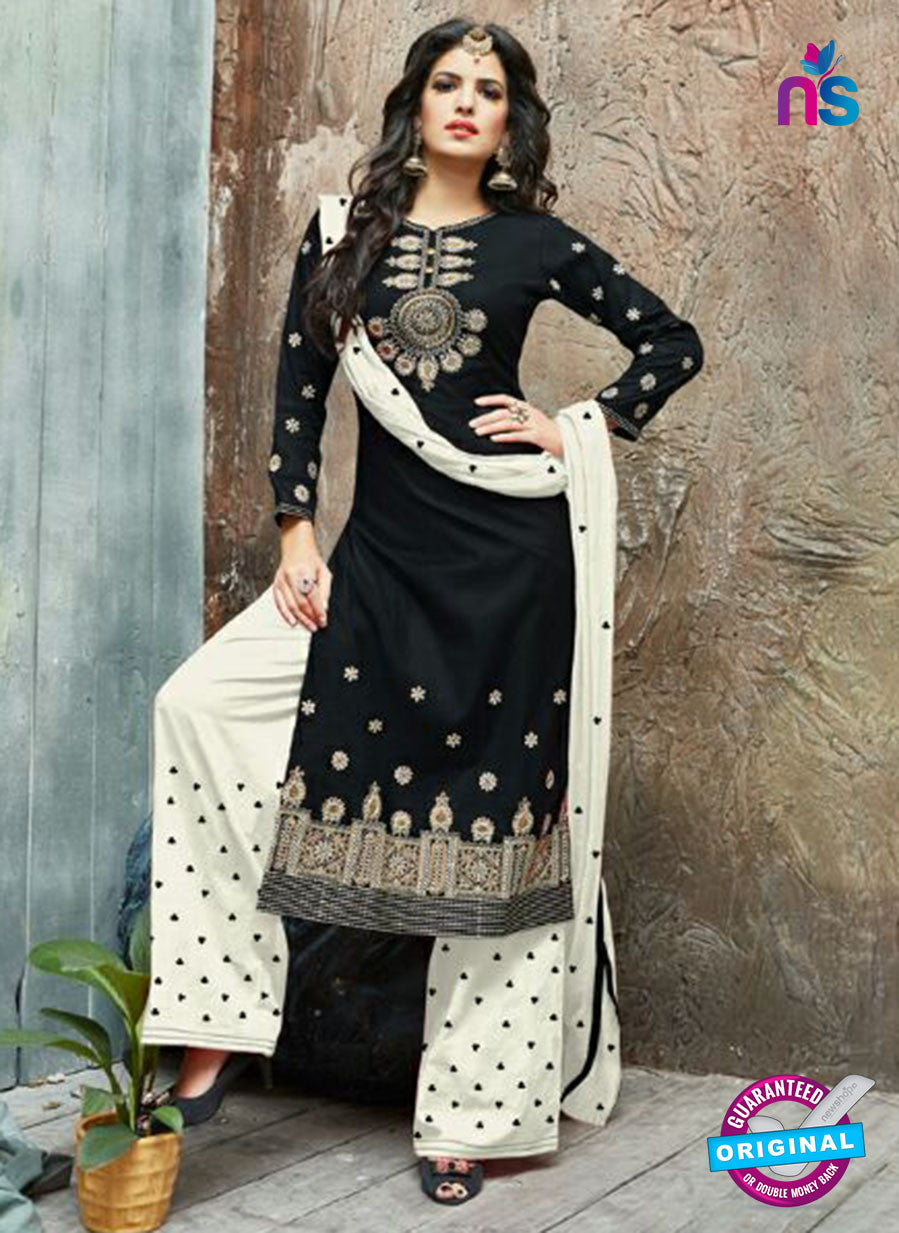 SC 14230 Black Cotton Satin Party Wear Suit