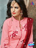 SC 14231 Pink Cotton Satin Party Wear Suit Online