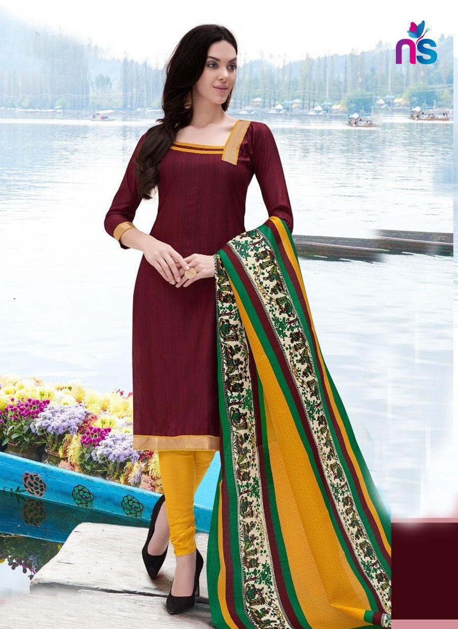 NS11255 Maroon and Yellow Party Wear Bhagalpuri Straight Suit