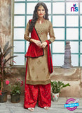 SC 14232 Brown Cotton Satin Party Wear Suit