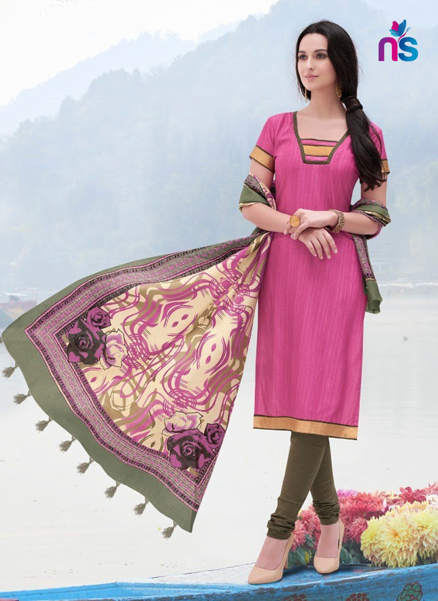 NS11256 DarkPink and ArmyGreen Party Wear Bhagalpuri Straight Suit