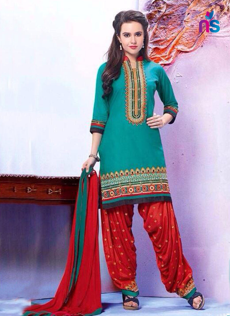 SeaGreen and Red Pure Cotton Daily Wear Patiala Suit