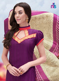 NS11257 PurpleViolate and OrangeRed Bhagalpuri Straight Suit