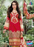 NS10863 Red and Sandy Brown Lawn Cotton Pakistani Suit