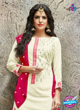 SC 14234 Beige Cotton Satin Party Wear Suit Online
