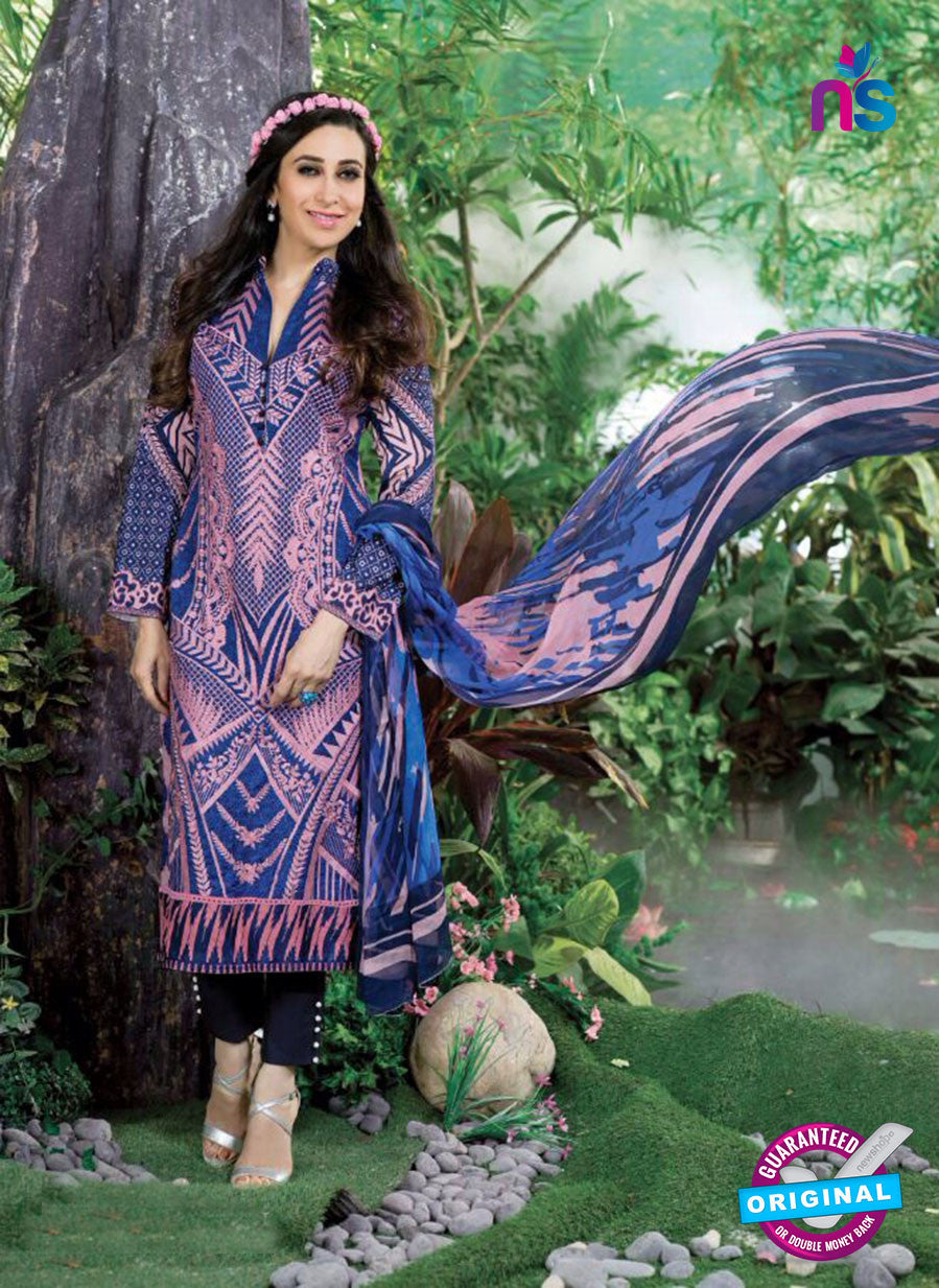 NS10865 Violet, Blue and Black Lawn Cotton Pakistani Suit
