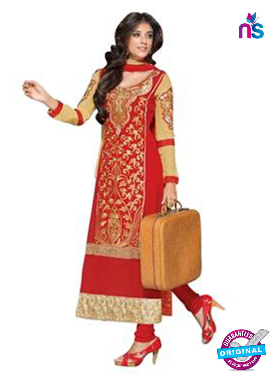 NS12277 Red and Beige Straight Suit