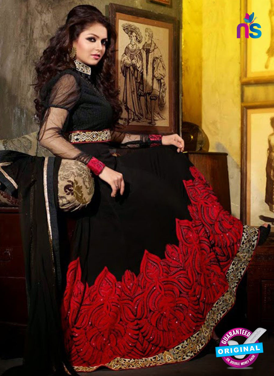 NS 12352 42001 Black and Red Georgette Party Wear Anarkali Suit