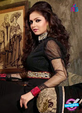 NS 12352 Black and Red Georgette Party Wear Anarkali Suit