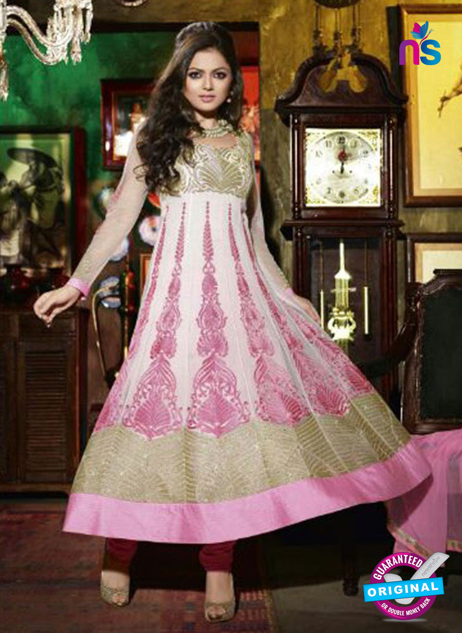 NS 12349 42002 Pink and White Party Wear Anarkali Suit