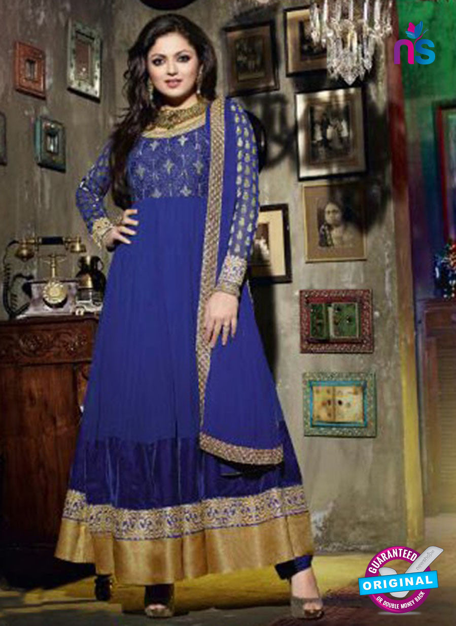 NS 12351 42003 Blue and Golden Party Wear Anarkali Suit