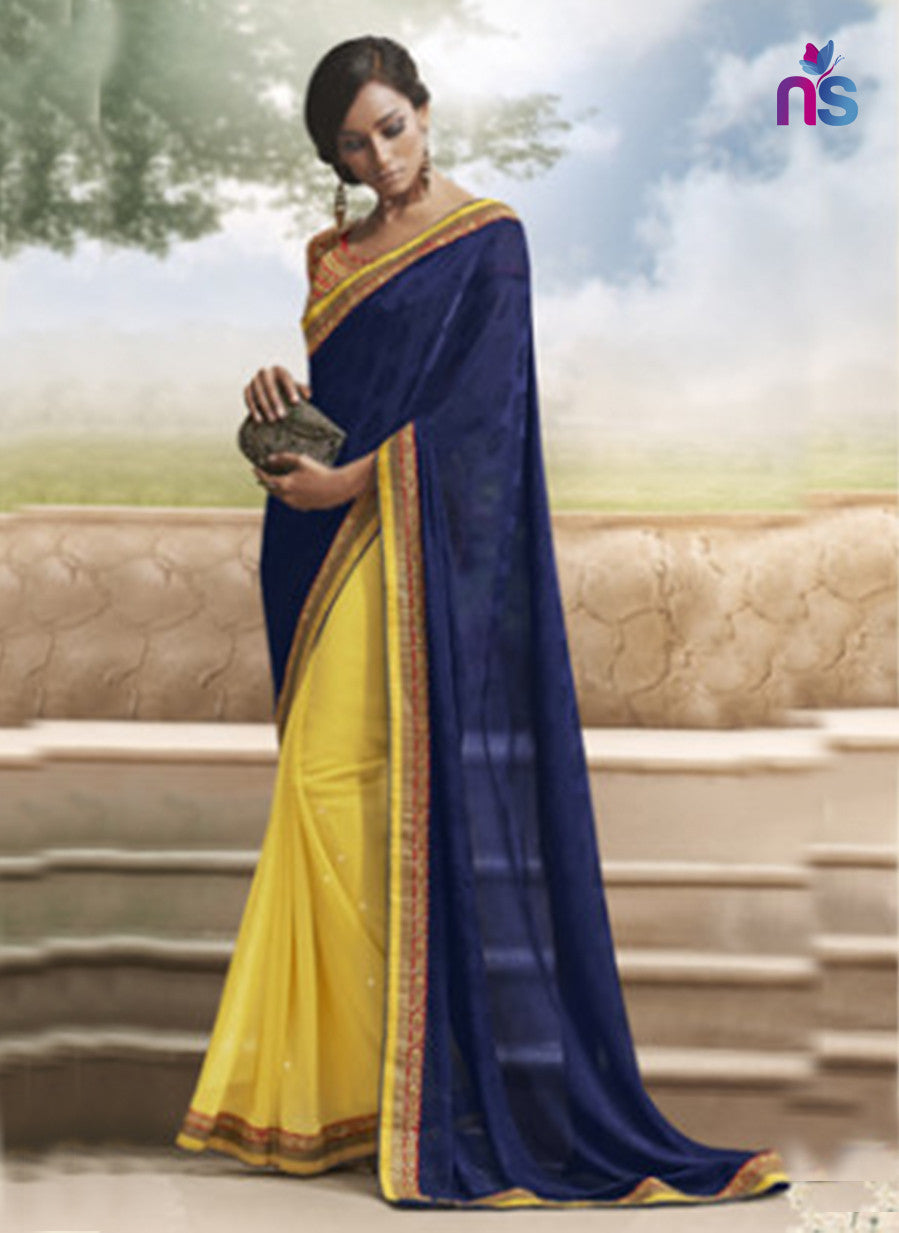 NS11498 Dark Blue and Yellow Designer Saree