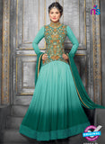 NS10707 D Sea Green and Golden Designer Anarkali Suit