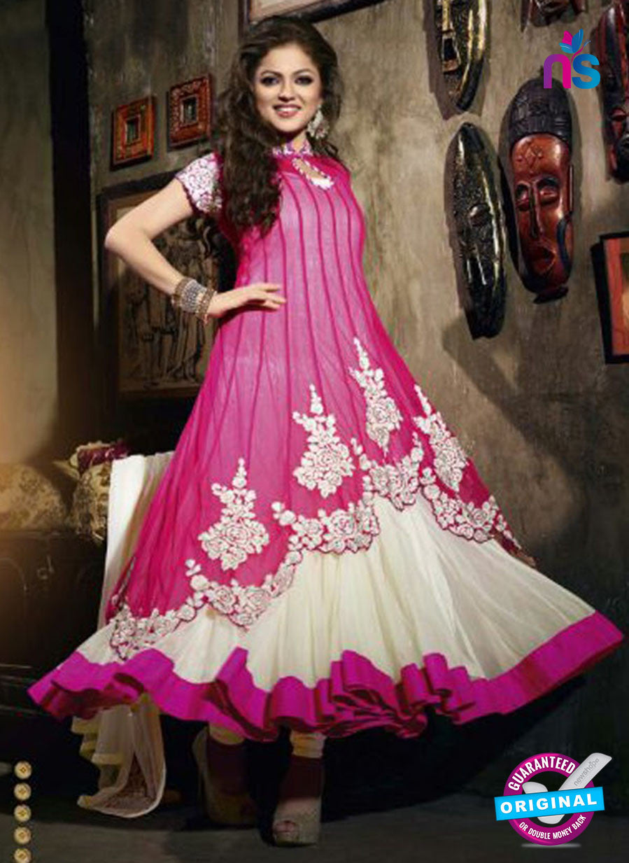 NS 12353 42004 Pink and Beige Party Wear Anarkali Suit
