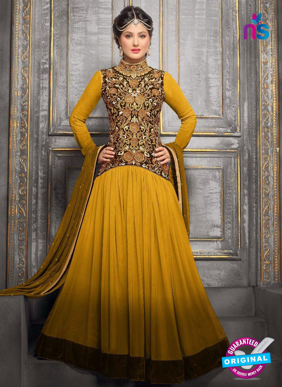 NS10708 E Yellow and Golden Designer Anarkali Suit