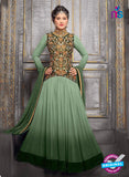 NS10706 C Green and Golden Designer Anarkali Suit