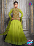 NS10709 F Green and Golden Designer Anarkali Suit