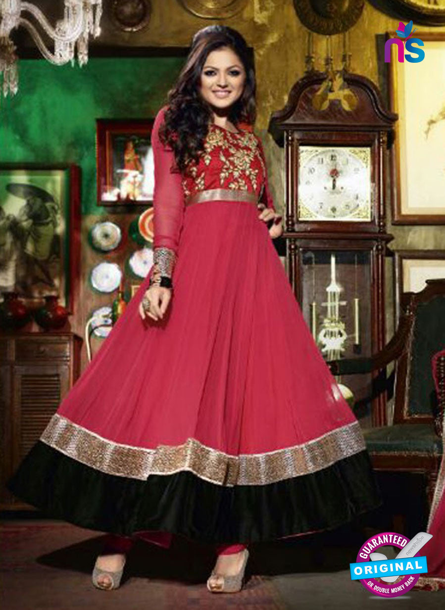 NS 12347 42006 Red and Black and Bronze Party Wear Anarkali Suit