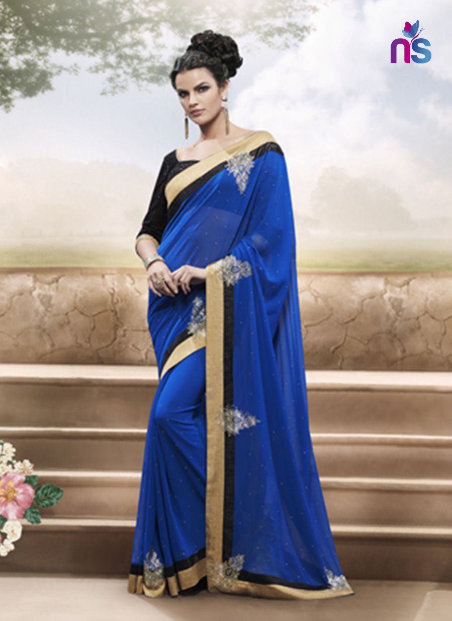 NS11500 Royal Blue and Black Designer Saree