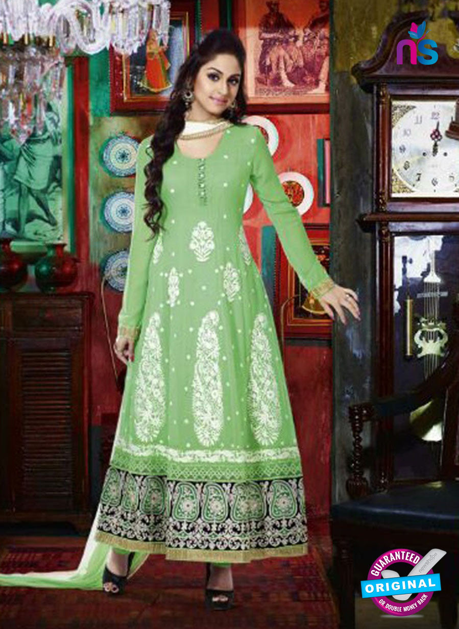 NS 12348 42010 Green and White Party Wear Anarkali Suit