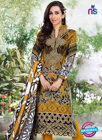 NS10868 Black, White and Yellow Lawn Cotton Pakistani Suit