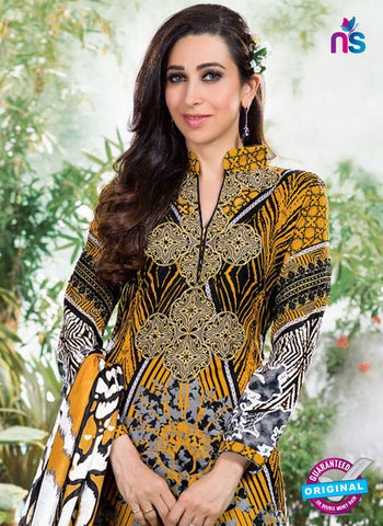 NS10868 Black, White and Yellow Lawn Cotton Pakistani Suit Online