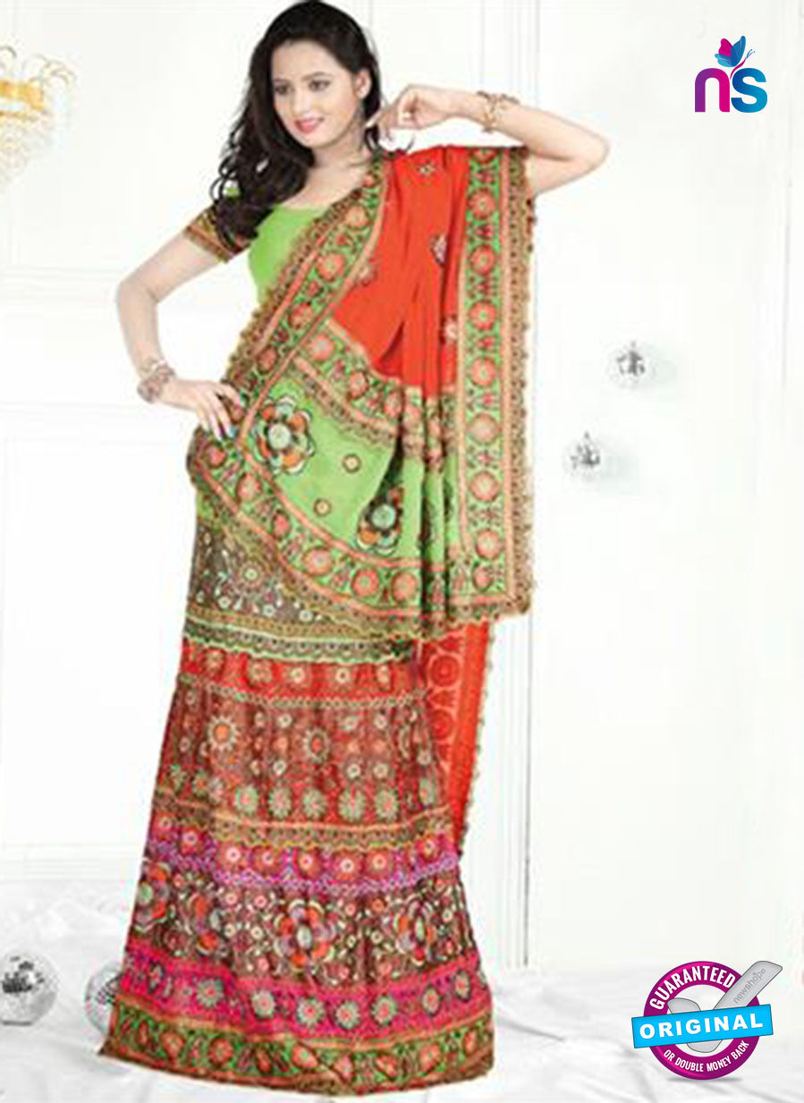 NS12233 Light Green and Brown Designer Saree