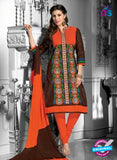 NS12279 Orange and Dark Brown Straight Suit