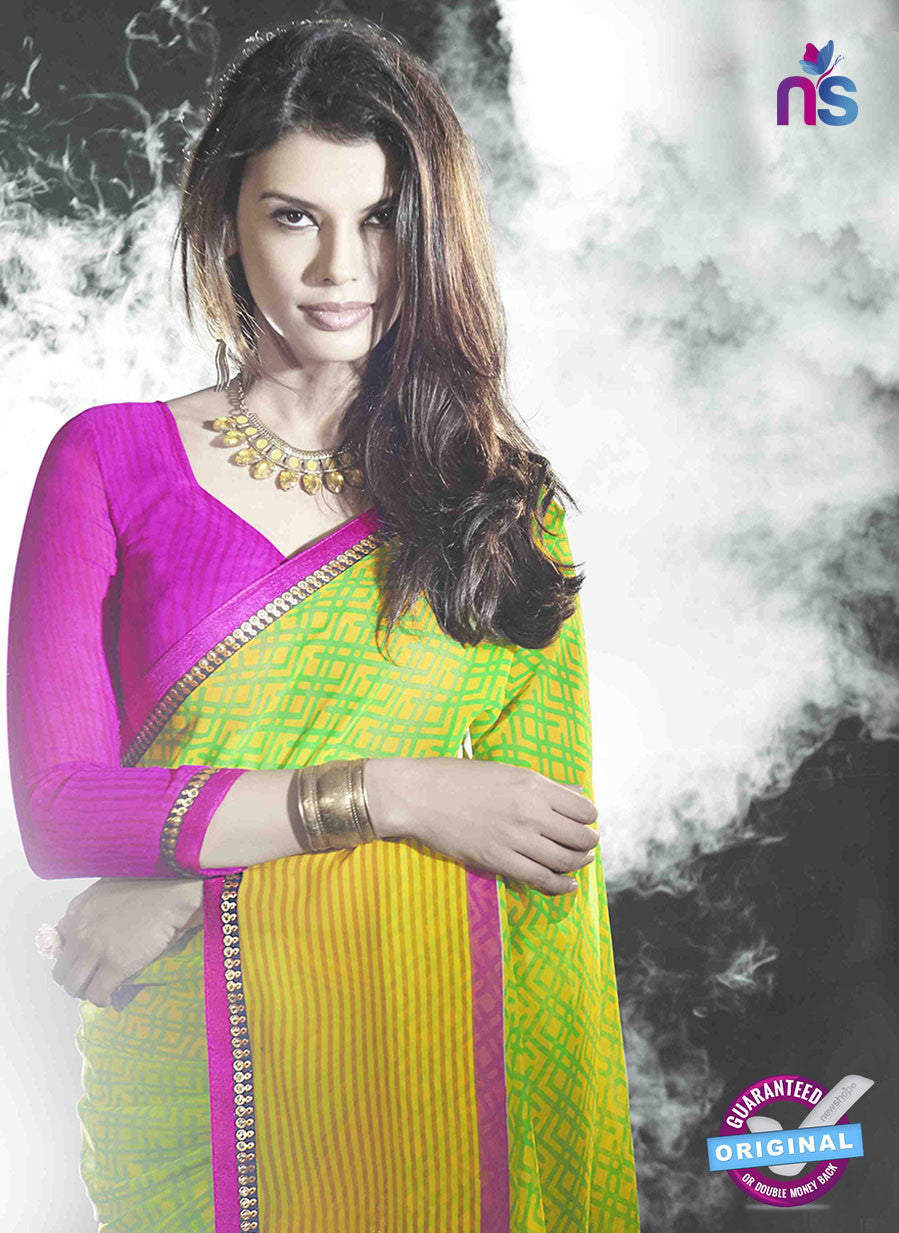 NS11018 Yellow and Pink Designer Georgette Saree
