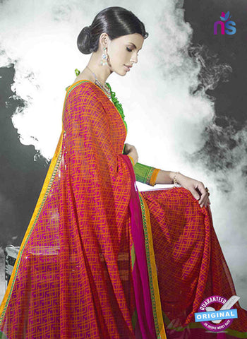 NS11019 Red and Lime Designer Green Georgette Saree