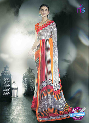 NS11020 White and Dark Orange Designer Georgette Saree