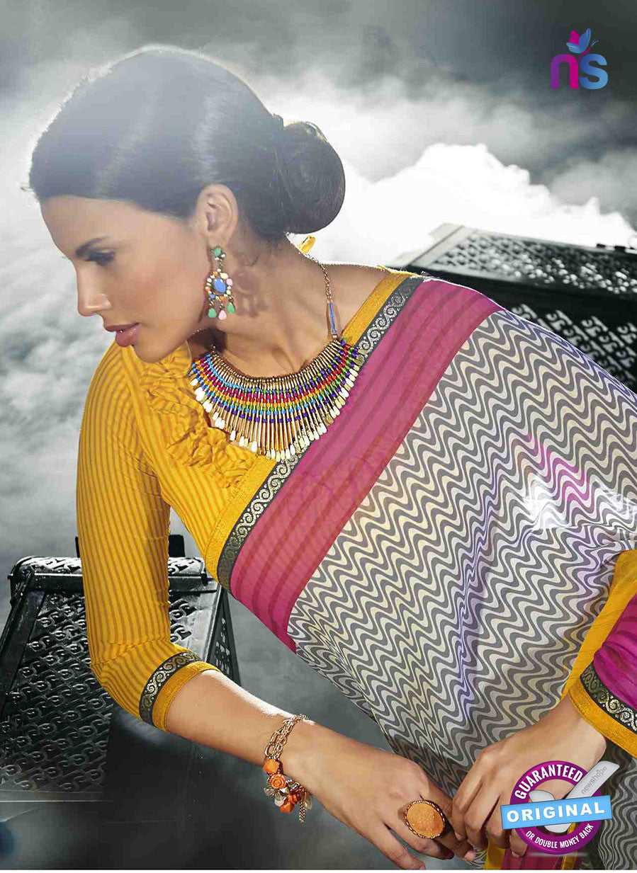 NS11021 Yellow and White Designer Georgette Saree