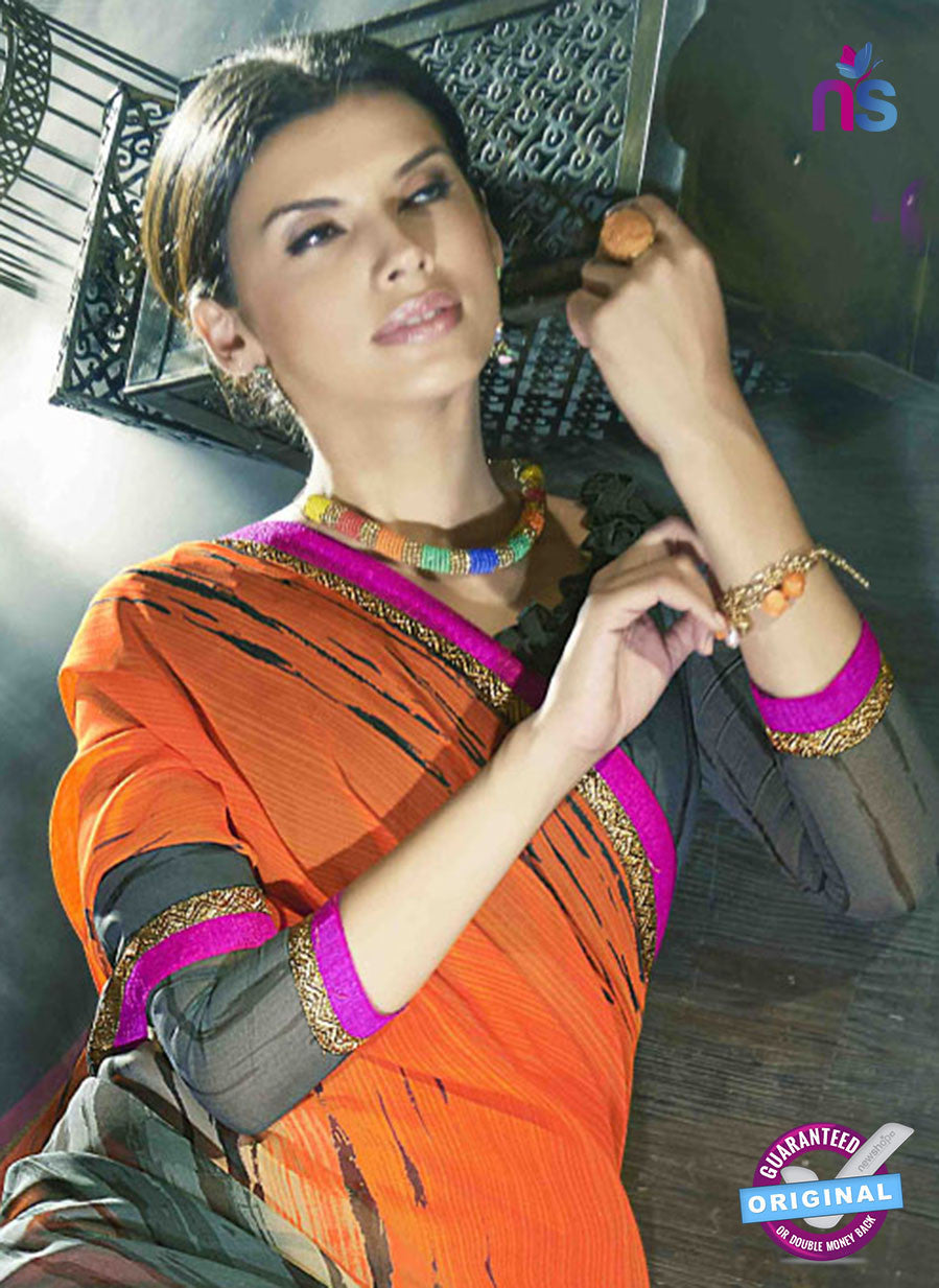 NS11023  Orange and Grey Designer Georgette Saree